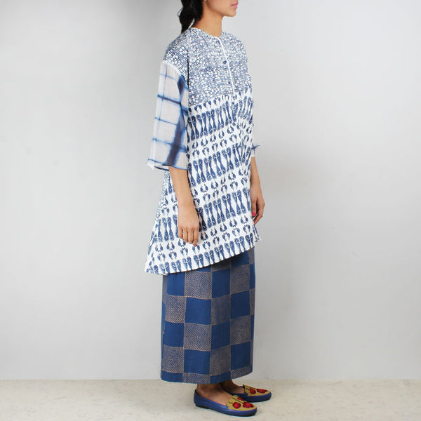 Set Of Blue - White Aye Tunic & Amber Skirt