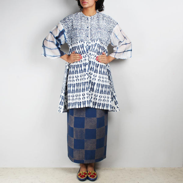 Set Of Blue - White Aye Tunic & Amber Skirt by Ka-Sha