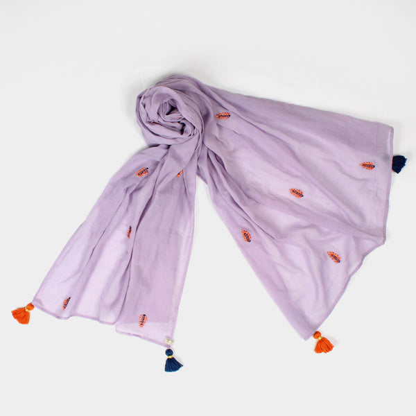 Mauve Ferns Embroidered Cotton Stole