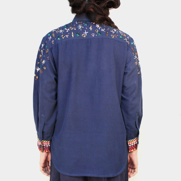 Blue Khadi Embroidered Jagmil Shirt