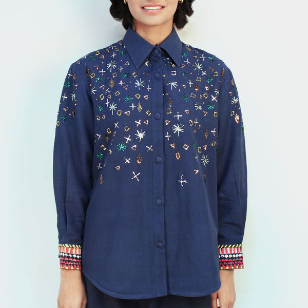 Blue Khadi Embroidered Jagmil Shirt by Ka-Sha