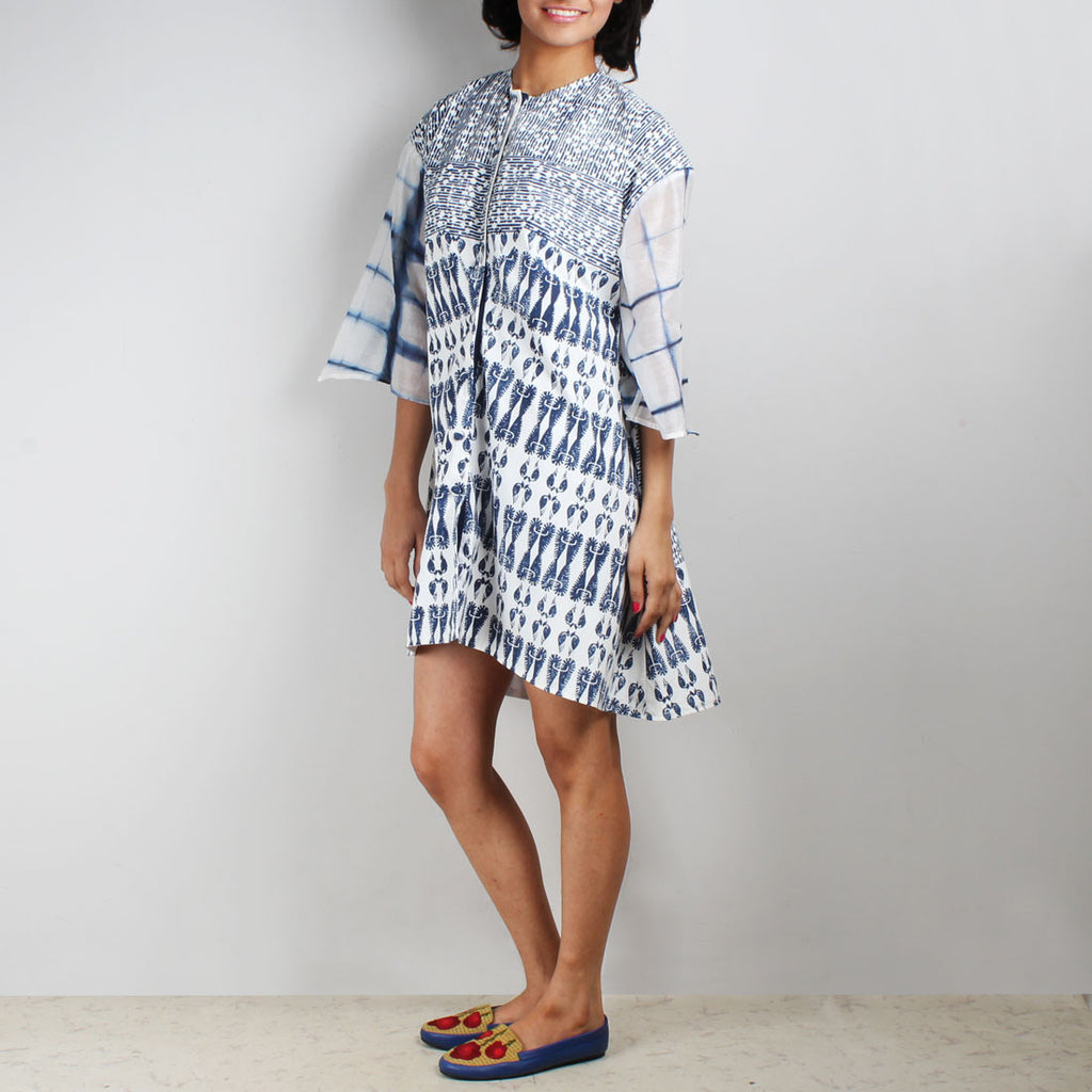 Blue & White Aye Block Printed Tunic by Ka-Sha