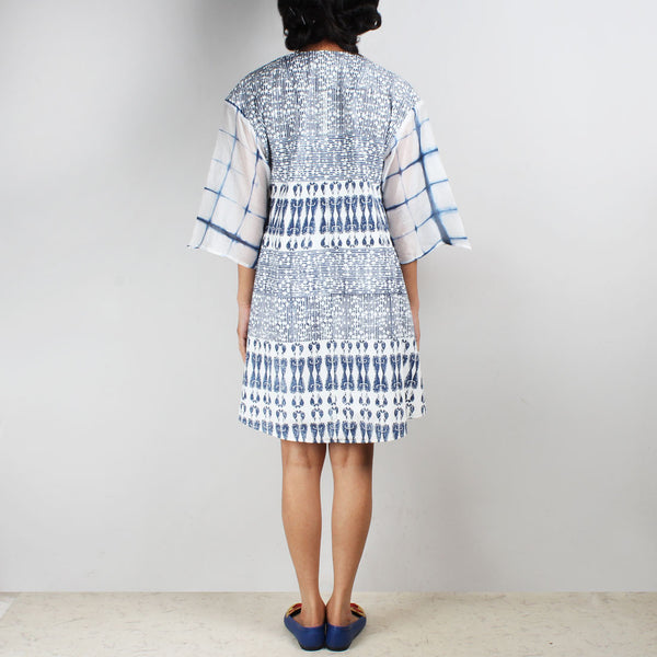 Blue & White Aye Block Printed Tunic