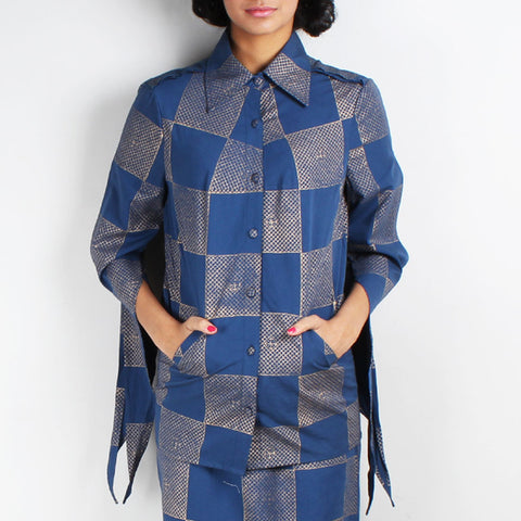 Neel Block Printed Jacket With Slit Sleeves by Ka-Sha