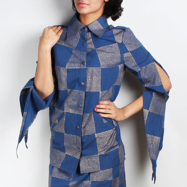 Neel Block Printed Jacket With Slit Sleeves