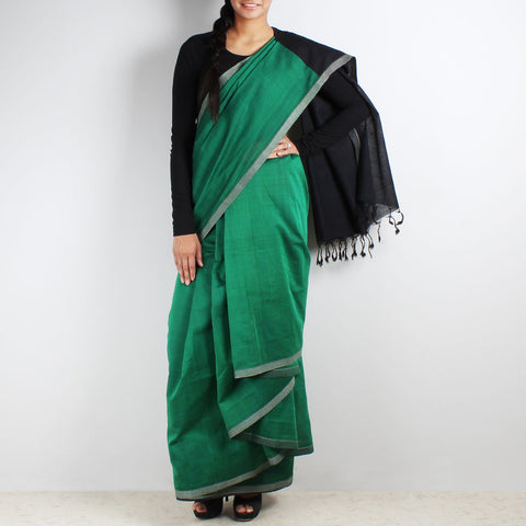 Hand Woven Mangalgiri Cotton Saree by Love for the Loom