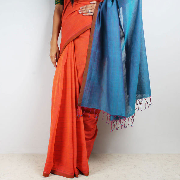 Orange-Blue Hand Woven Mangalgiri Cotton Saree