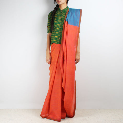 Orange-Blue Hand Woven Mangalgiri Cotton Saree by Love for the Loom