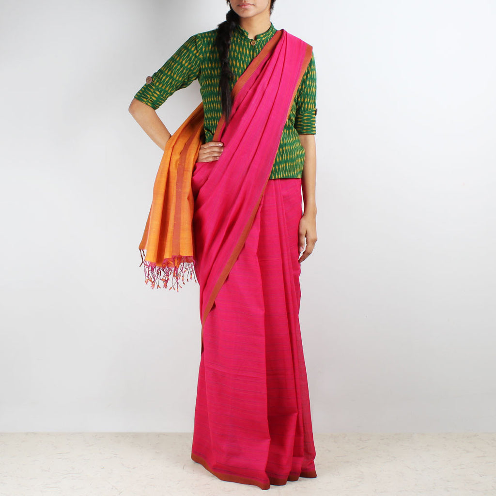 Magenta-Mustard Hand Woven Mangalgiri Cotton Saree by Love for the Loom