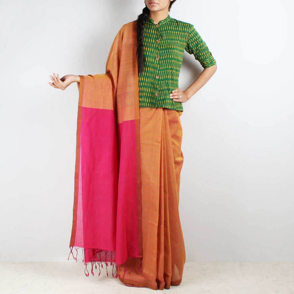 Orange-Magenta Hand Woven Mangalgiri Cotton Saree by Love for the Loom