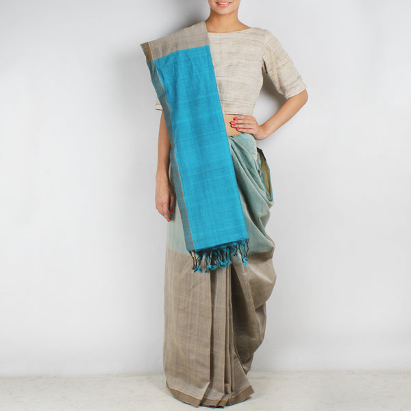 Grey & Blue Hand Woven Mangalgiri Cotton Colour Block Saree
