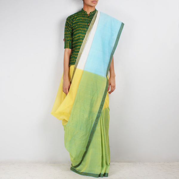 Yellow & Green Hand Woven Mangalgiri Cotton Colour Block Saree