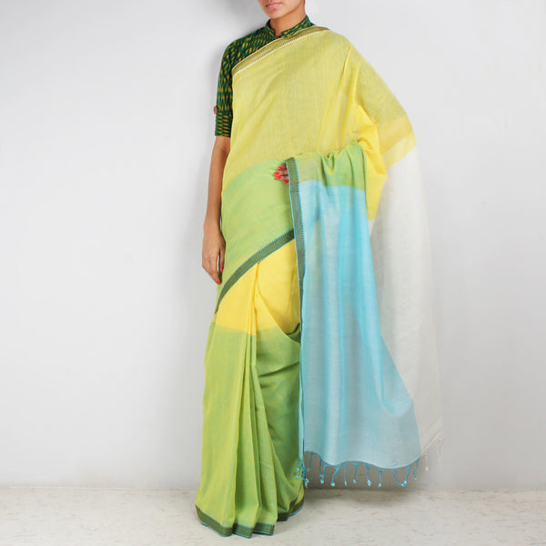 Yellow & Green Hand Woven Mangalgiri Cotton Colour Block Saree by Love for the Loom