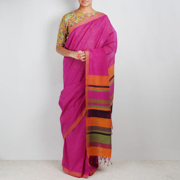 Twin Color Hand Woven Mangalgiri Cotton Saree