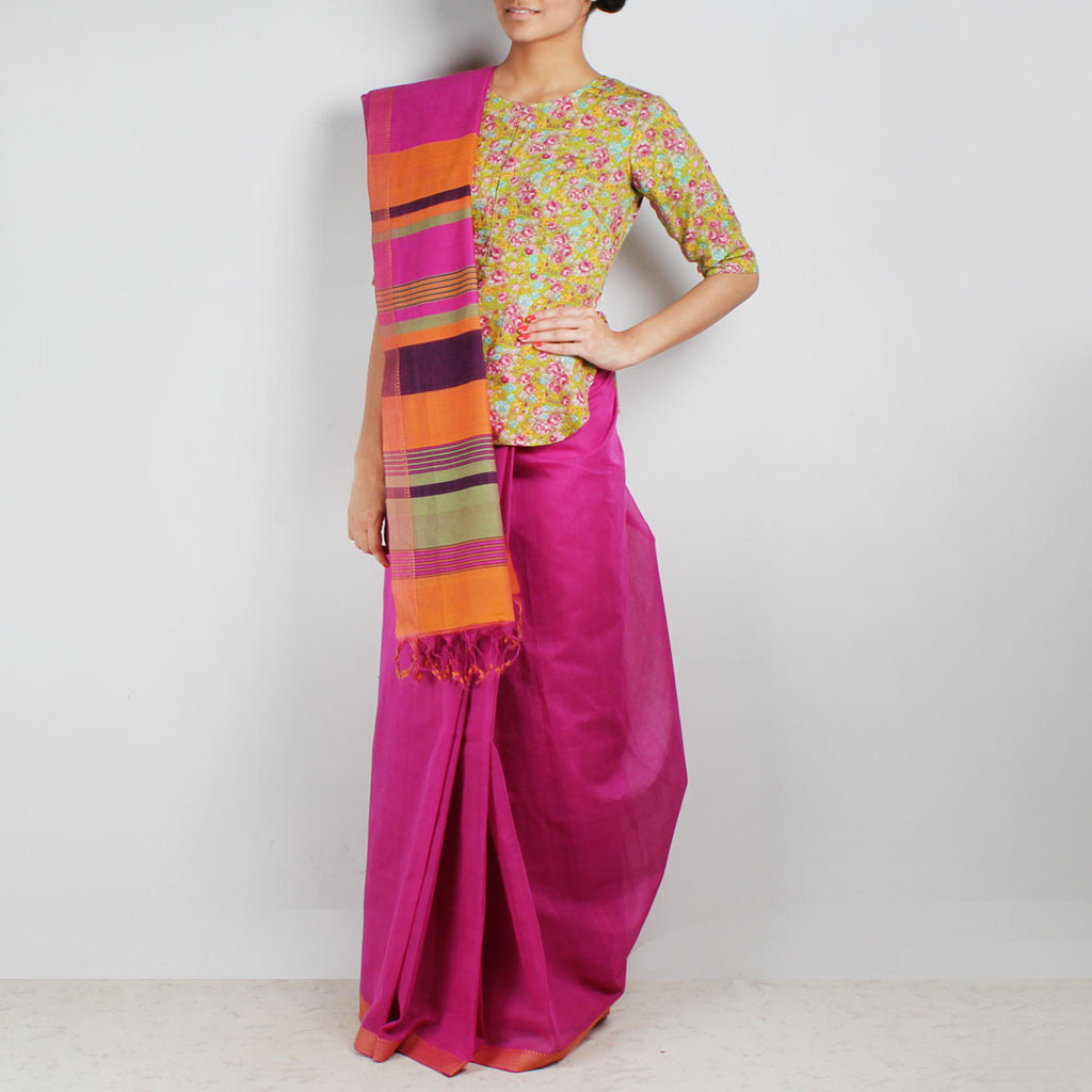 Twin Color Hand Woven Mangalgiri Cotton Saree by Love for the Loom