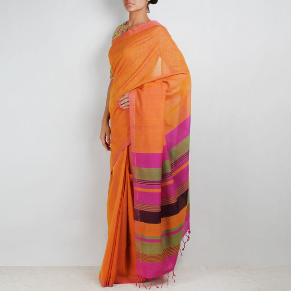 Orange Hand Woven Mangalgiri Cotton Saree With Striped Palla