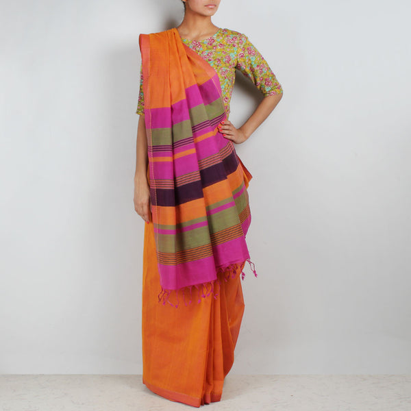 Orange Hand Woven Mangalgiri Cotton Saree With Striped Palla by Love for the Loom