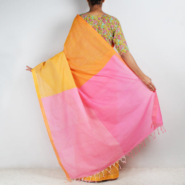 Orange-Yellow Hand Woven Mangalgiri Cotton Colour Block Saree