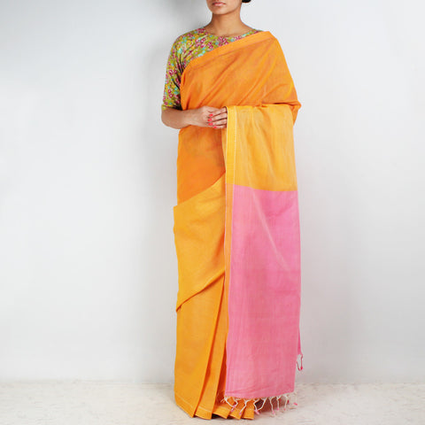 Orange-Yellow Hand Woven Mangalgiri Cotton Colour Block Saree by Love for the Loom