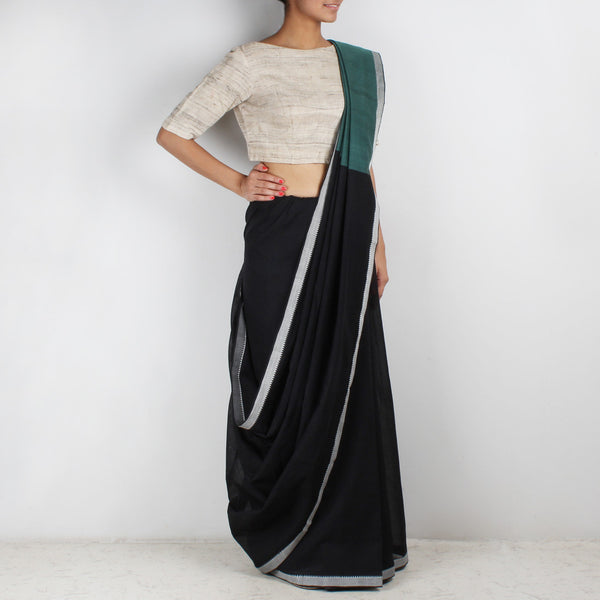 Black Hand Woven Mangalgiri Cotton Saree