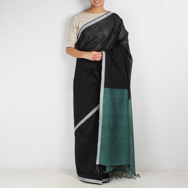 Black Hand Woven Mangalgiri Cotton Saree by Love for the Loom