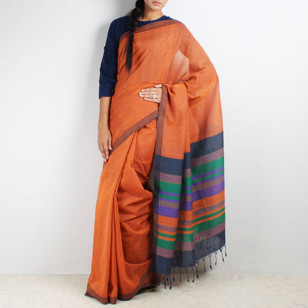 Orange Mangalgiri Cotton Saree With Multicolor Striped Palla