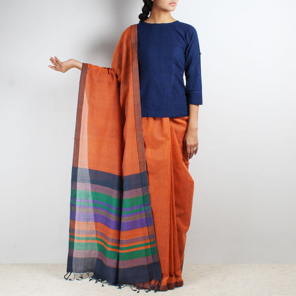 Orange Mangalgiri Cotton Saree With Multicolor Striped Palla by Love for the Loom