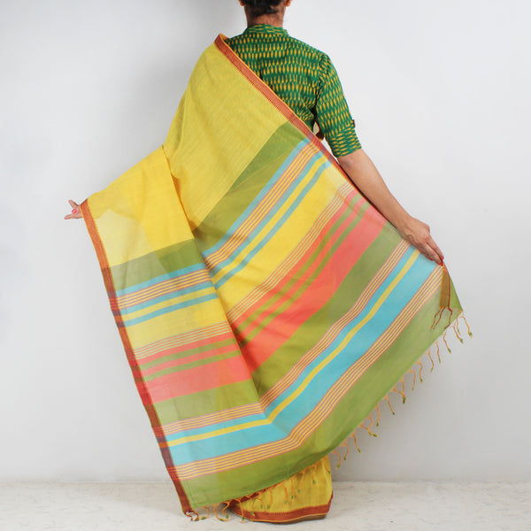Yellow Hand Woven Mangalgiri Cotton Saree With Striped Palla
