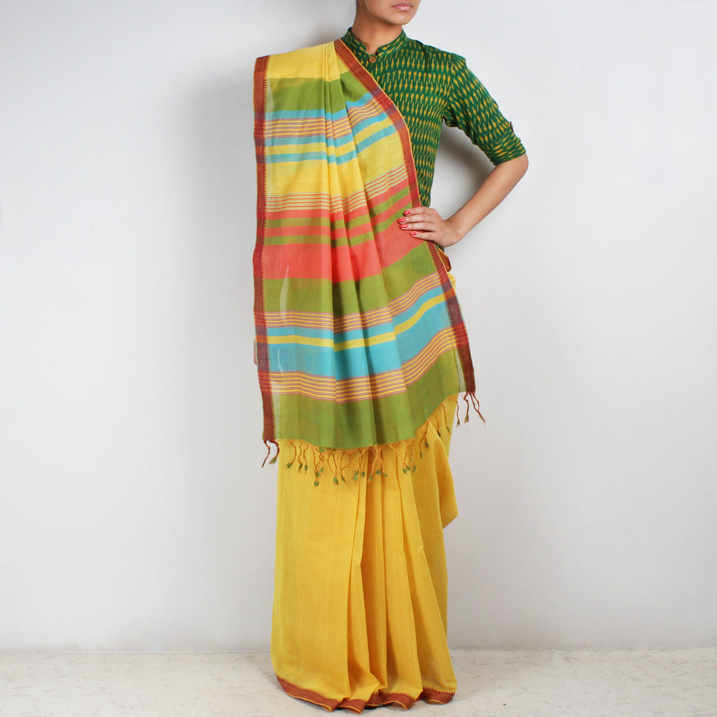 Yellow Hand Woven Mangalgiri Cotton Saree With Striped Palla by Love for the Loom
