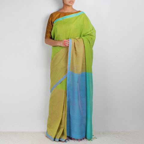 Shades Of Green Hand Woven Mangalgiri Cotton Colour Block Saree by Love for the Loom