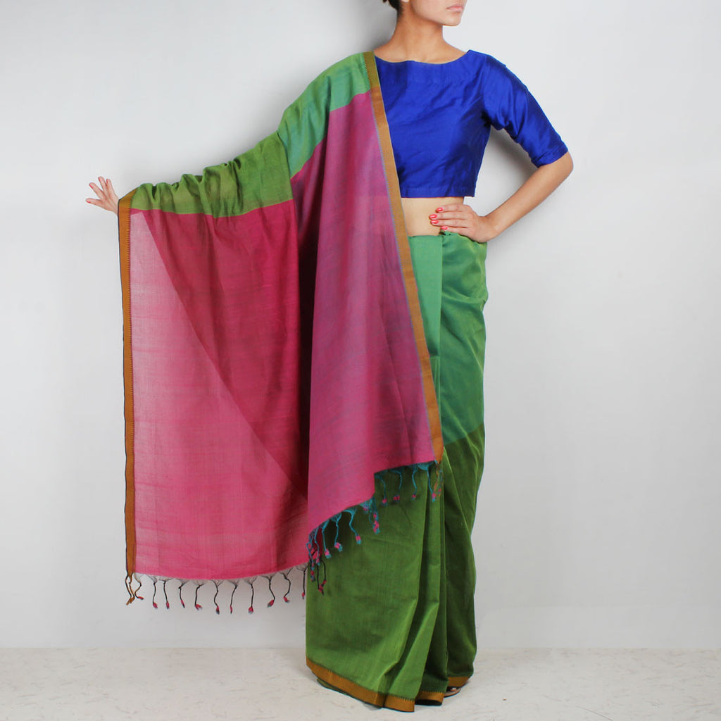 Green Hand Woven Mangalgiri Cotton Colour Block Saree by Love for the Loom