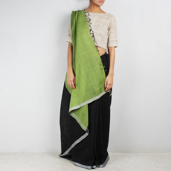 Black & Light Green Hand Woven Mangalgiri Cotton Saree