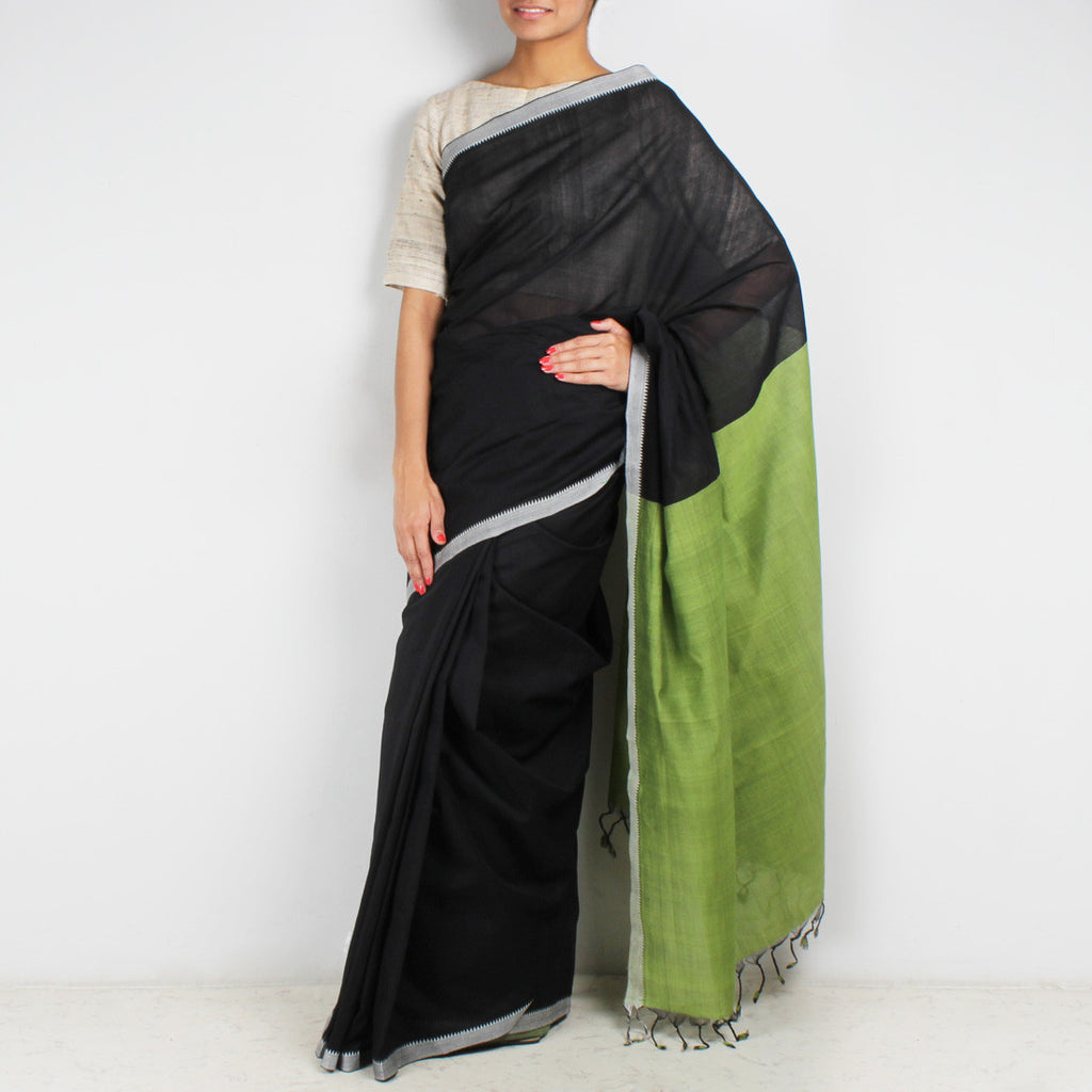 Black & Light Green Hand Woven Mangalgiri Cotton Saree by Love for the Loom