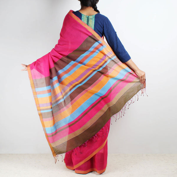 Magenta Mangalgiri Cotton Saree With Multicolor Striped Palla