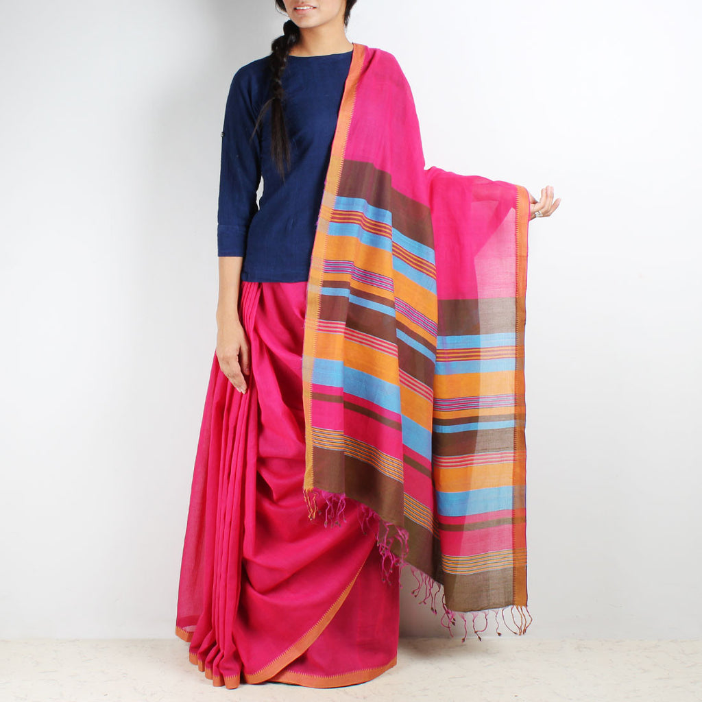 Magenta Mangalgiri Cotton Saree With Multicolor Striped Palla by Love for the Loom