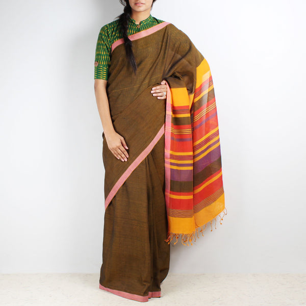 Brown Mangalgiri Cotton Saree With Multicolor Striped Palla