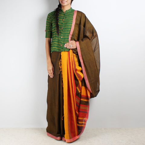 Brown Mangalgiri Cotton Saree With Multicolor Striped Palla by Love for the Loom