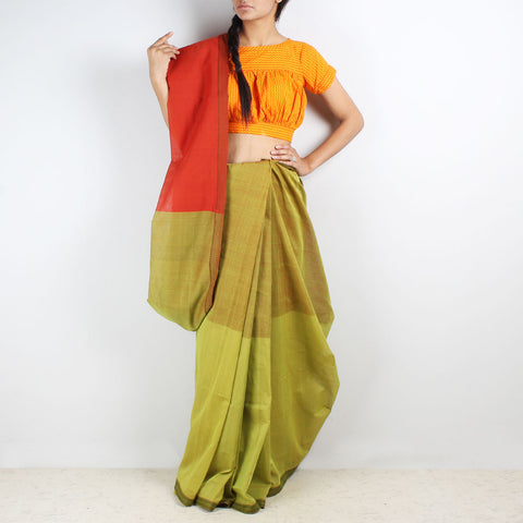 Shades Of Green Color Block Mangalgiri Cotton Saree by Love for the Loom