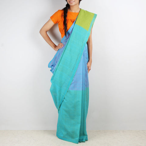 Blue & Mauve Color Block Mangalgiri Cotton Saree by Love for the Loom