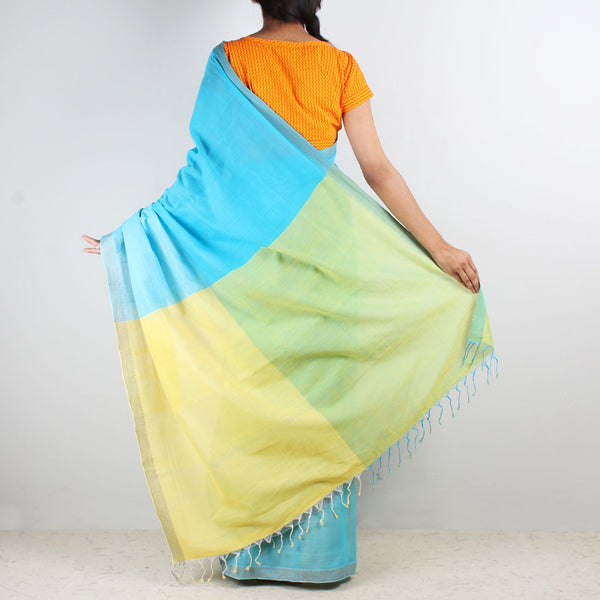Shades Of Blue Color Block Mangalgiri Cotton Saree