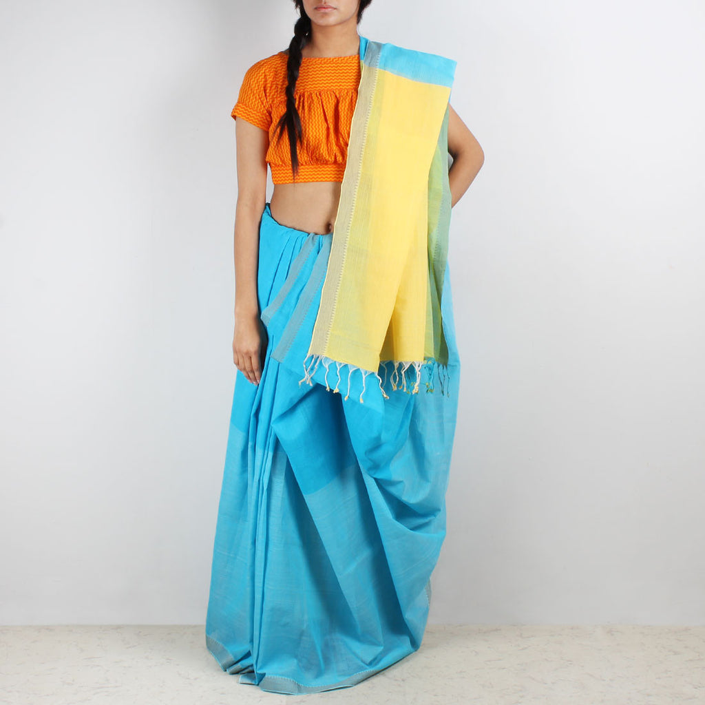 Shades Of Blue Color Block Mangalgiri Cotton Saree by Love for the Loom