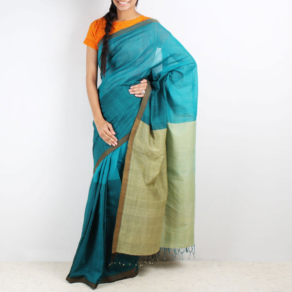 Teal Color Block Mangalgiri Cotton Saree