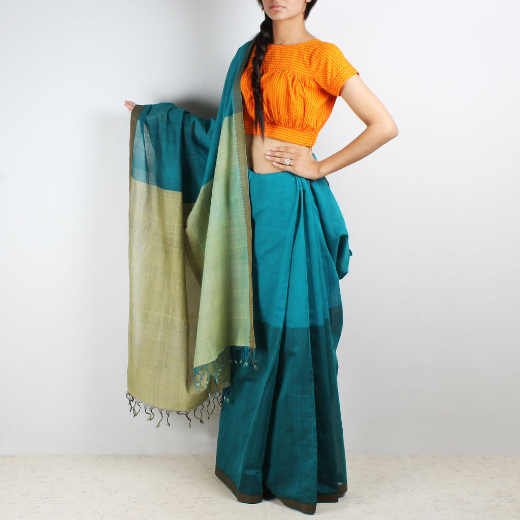 Teal Color Block Mangalgiri Cotton Saree by Love for the Loom