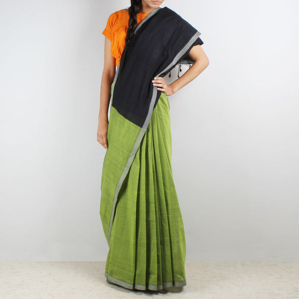Green Hand Woven Mangalgiri Cotton Saree by Love for the Loom