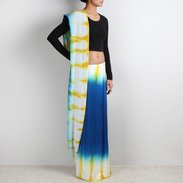 Blue Crepe Saree With Yellow & White Border