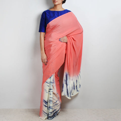 Peach Half & Half Crepe Saree by Marigold Weaves