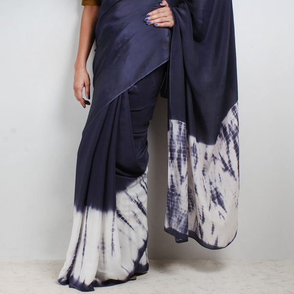 Crepe Saree With Tie & Dye Border