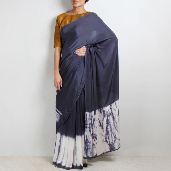 Crepe Saree With Tie & Dye Border by Marigold Weaves