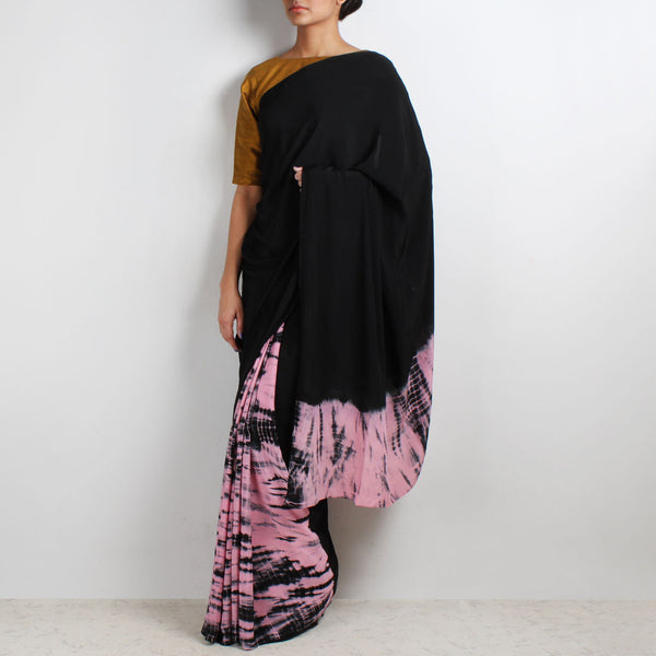 Black - Pink Half & Half Tie & Dye Crepe Saree by Marigold Weaves