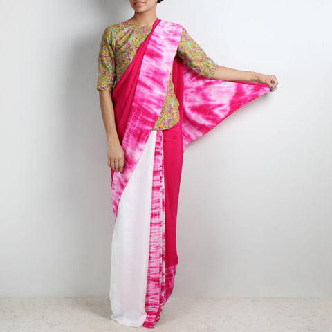 Pink-White Tie & Dye Half & Half Crepe Saree by Marigold Weaves